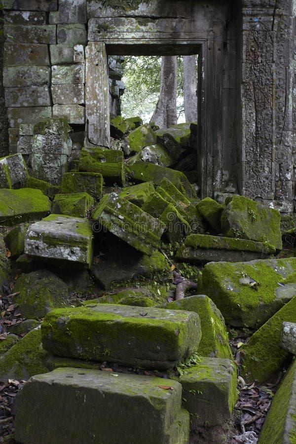 Tampa de pedra com musgo imagens de stock