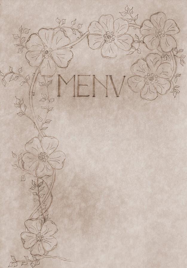 Download Tampa Desenhada Mão Do Cartão Do Menu Do Vintage Ilustração Stock - Ilustração de catering, antigo: 10062916