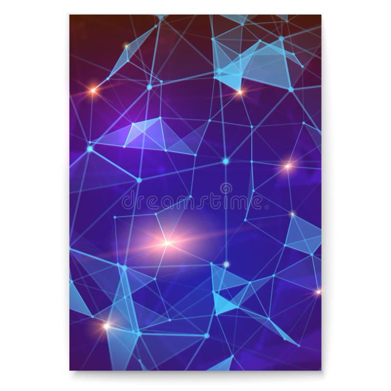 Tampa digital abstrata com o teste padrão do plexo que representa a interação global Conceito da rede global para ilustração stock
