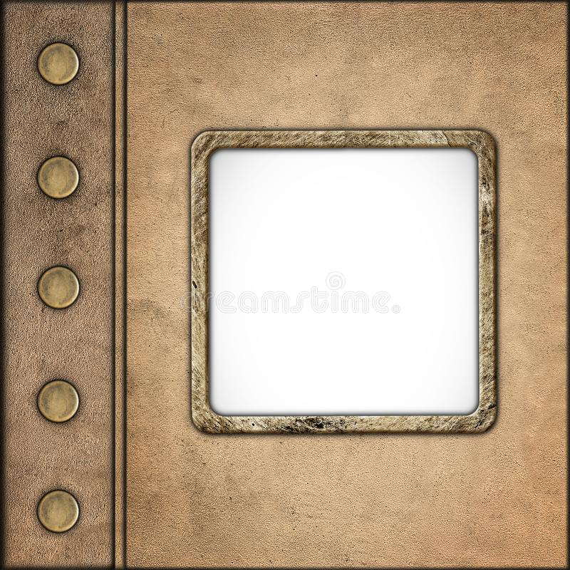 Tampa do álbum do couro do vintage do estilo do Grunge com quadro da foto fotos de stock royalty free