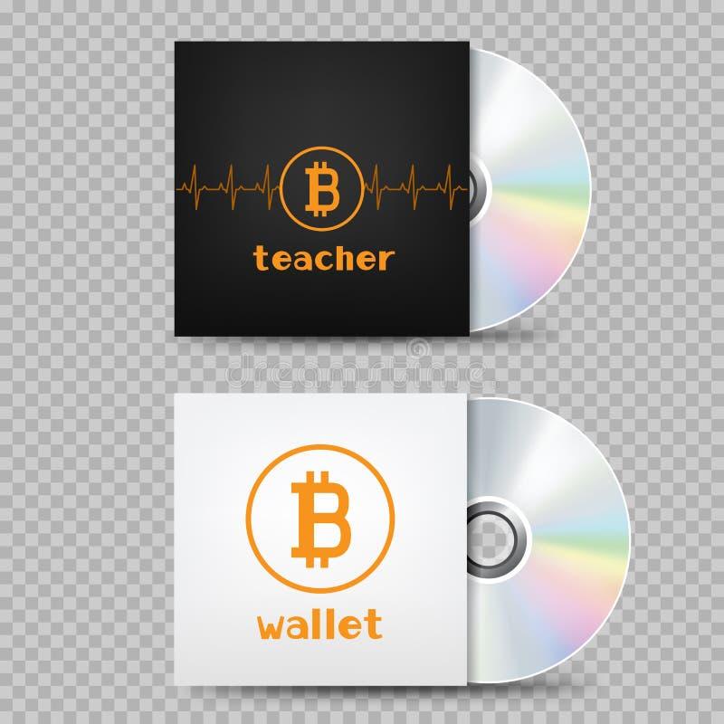 Tampa do bitcoin do compact disc transparente ilustração do vetor