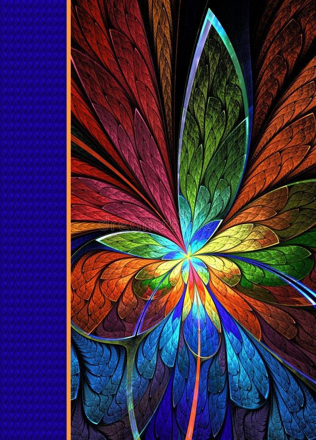 Tampa do caderno com teste padrão bonito no projeto do fractal ilustração stock
