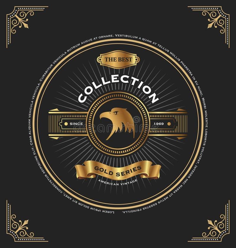 Tampa do CD da série do ouro do vintage ilustração do vetor