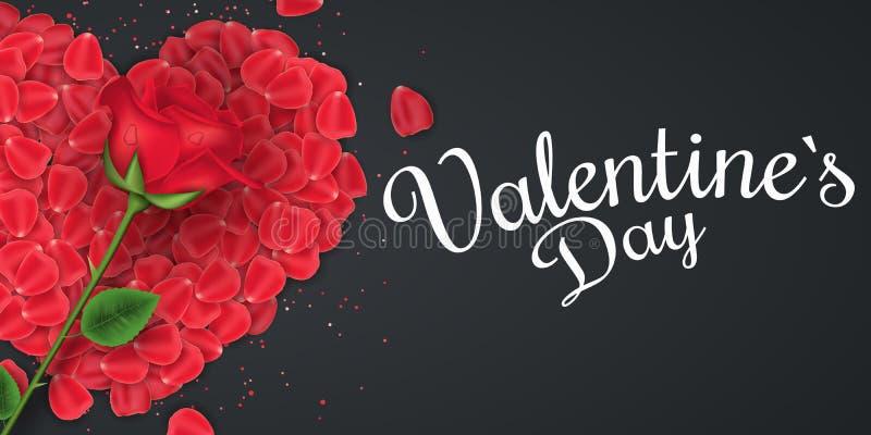 Tampa do dia do ` s do Valentim E Bandeira romântica r ilustração royalty free