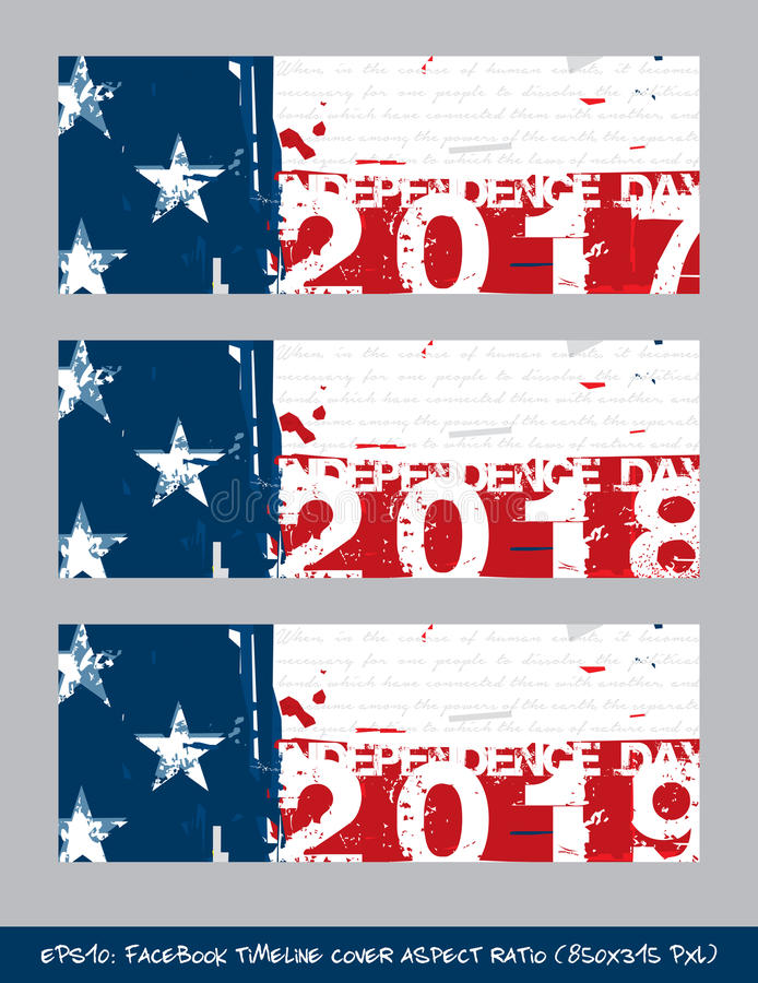 Tampa do espaço temporal do Dia da Independência da bandeira americana - escova artística S ilustração royalty free