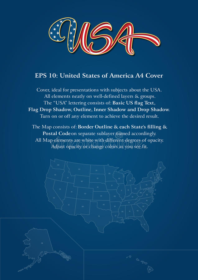 Tampa do Estados Unidos da América A4 ilustração do vetor