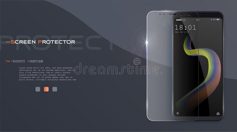 Tampa do filme do protetor da tela do vetor ou a de vidro A tela protege o vidro Vetor realístico do smartphone ilustração do vetor