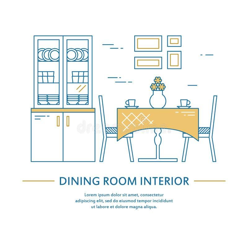 Tampa do folheto do design de interiores da sala de jantar do vetor na linha estilo Decoração home do inseto Apresentação do negó ilustração royalty free