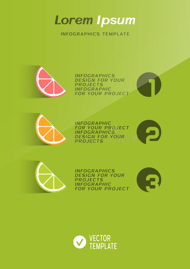 Tampa do folheto ou projeto da bandeira da Web com ícones dos citrinos ilustração stock