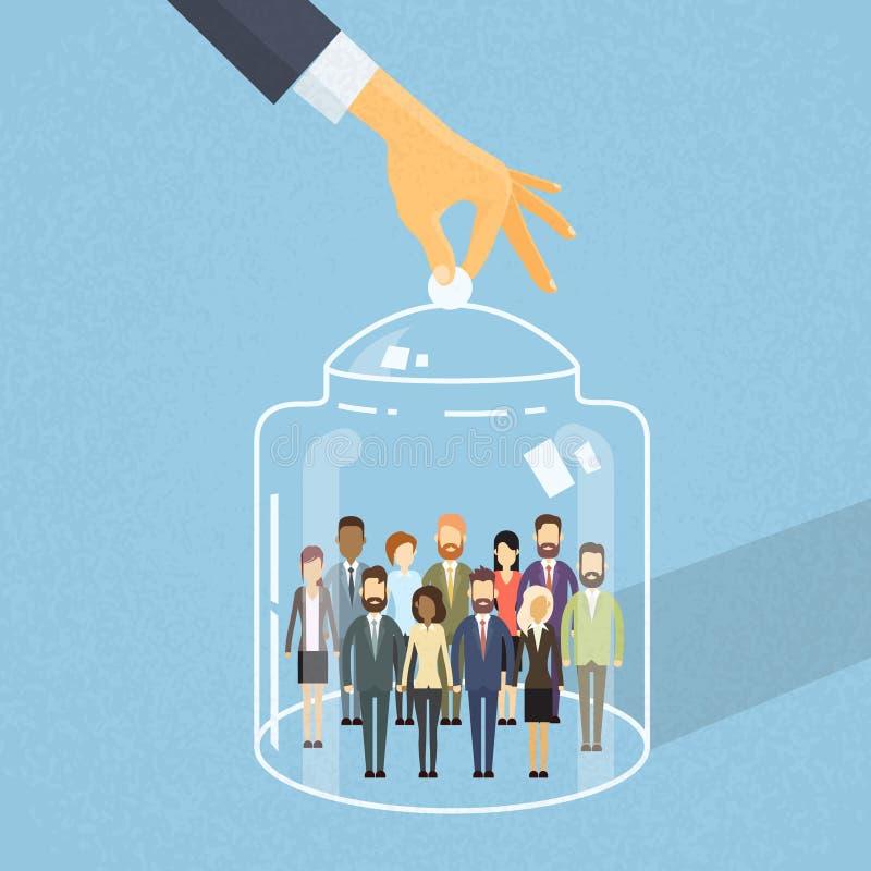 Tampa do grupo dos povos sob a caixa de vidro, empresários Team Captured Inside Together ilustração stock