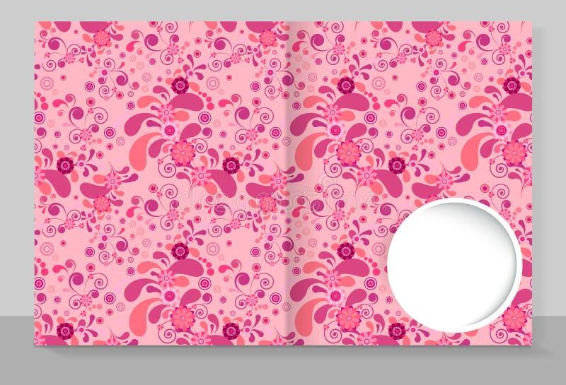 Tampa do molde de um caderno com um projeto na moda: floral cor-de-rosa ilustração do vetor