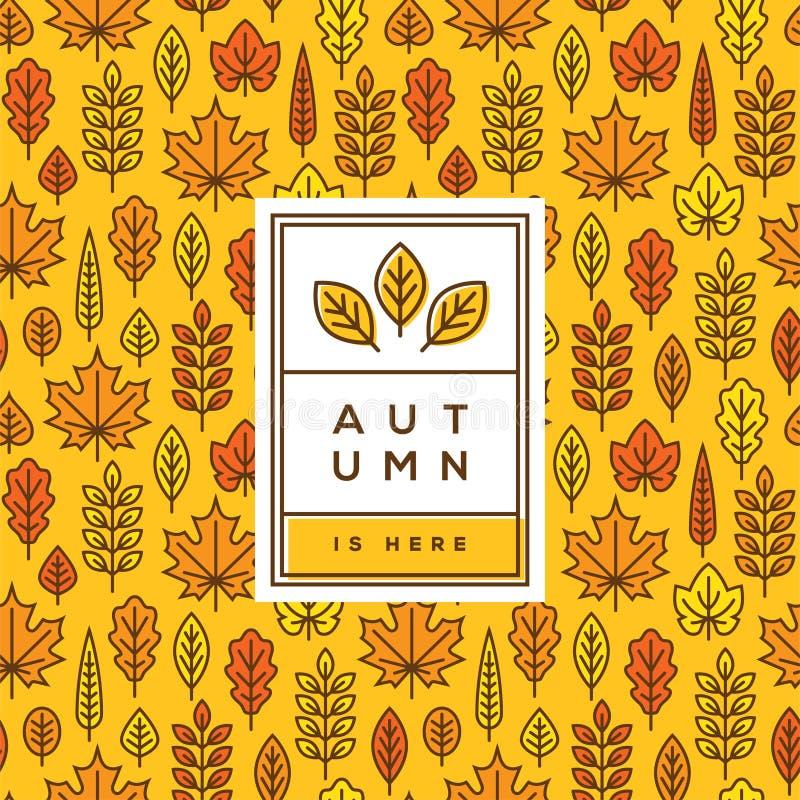 Tampa do outono, bandeira ou projeto brilhante do cartaz ilustração do vetor