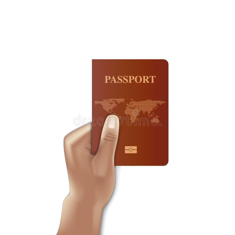 Tampa do passaporte com terra arrendada da mão, cidadão da identificação, vetor ilustração do vetor