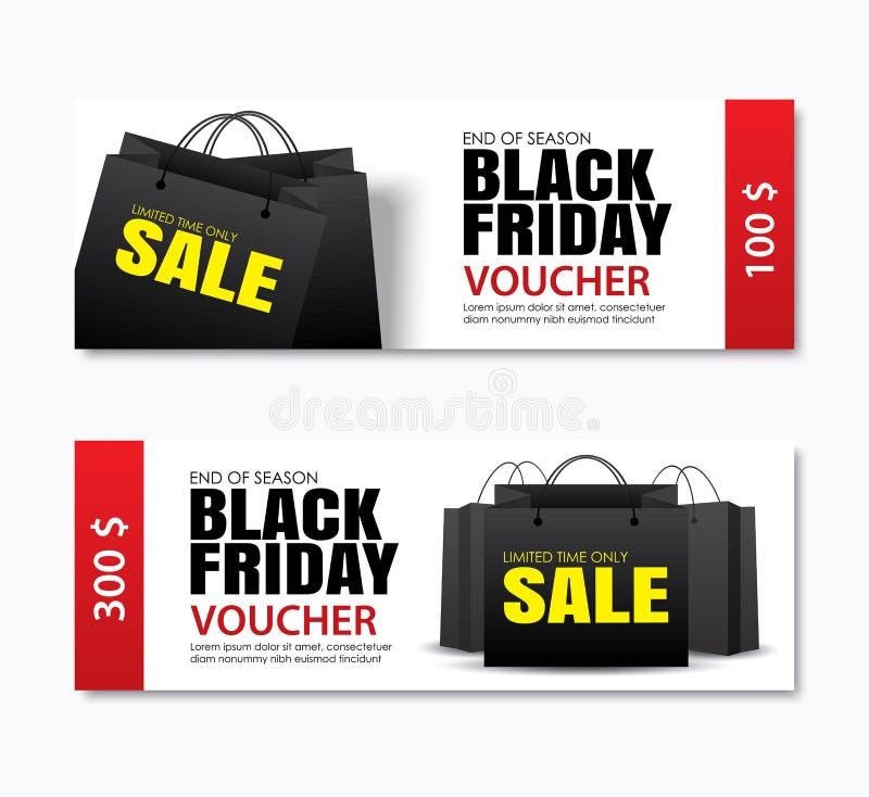A tampa do saco de compras da venda de sexta-feira e a bandeira pretas da Web projetam o templ ilustração do vetor