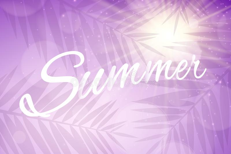 Tampa do verão Bandeira da Web da propaganda Brilha o bokeh Silhueta de uma folha da palmeira Raios de Sun Nascer do sol roxo Ilu ilustração stock