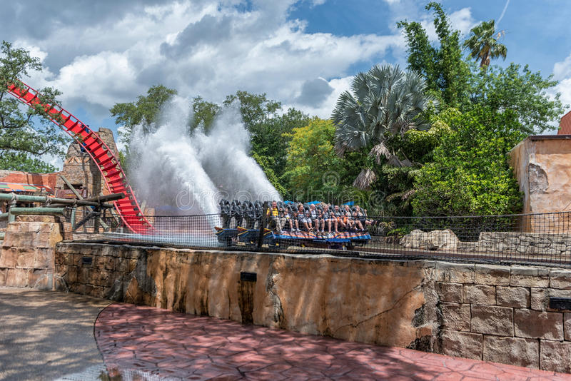 TAMPA, FLORIDA - MAY 05, 2015: Attractions in Busch Gardens Tampa Bay. Florida. Water Splash. Attractions in Busch Gardens Tampa Bay. Florida. Water Splash stock images