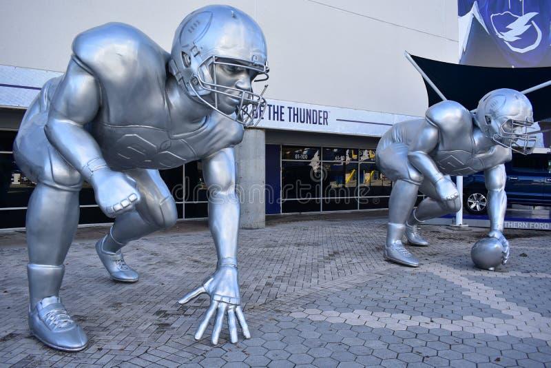 Tampa, Florida - USA - January 07, 2017: Giant Football Playoff. Sculptures stock photo