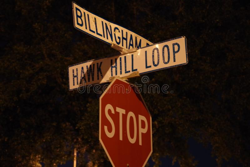Low angle of a street sign with a closeup view stock photos