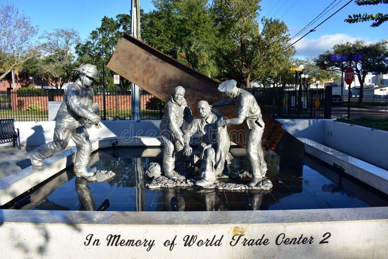 Tampa, Floryda Styczeń 08, 2016: - usa - 9/11 pomników - Ybor miasto zdjęcia stock