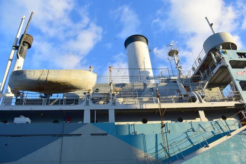 Tampa, Floryda Styczeń 07, 2016: - usa - SS Amerykańskiego zwycięstwa Pamiątkowy statek zdjęcia royalty free