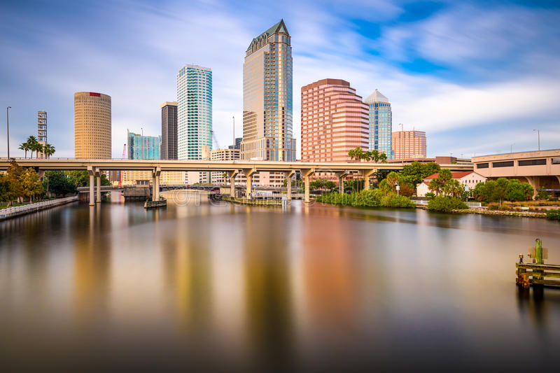 Tampa, Floryda, usa linia horyzontu fotografia stock