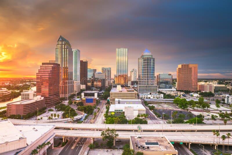 Tampa, Floryda, usa powietrzny w centrum linia horyzontu obrazy stock