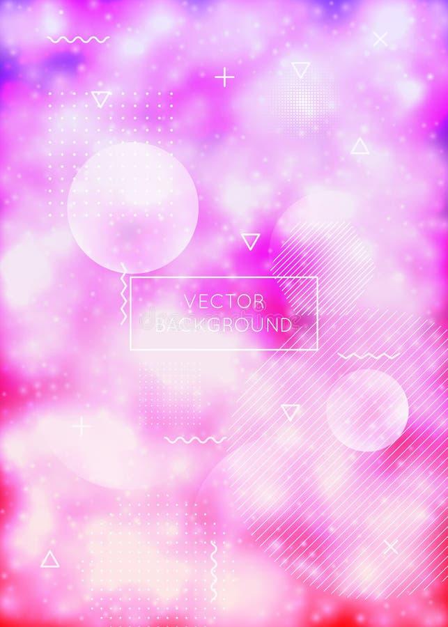 Tampa fluorescente com formas de néon líquidas Líquido roxo Fundo luminoso com inclinação do bauhaus ilustração do vetor