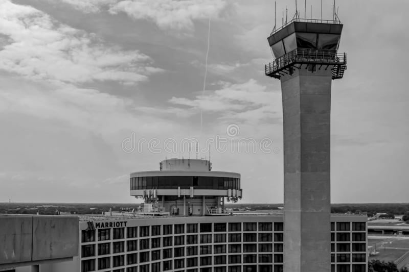 Tampa International Marriott and Air Traffic Control Tower at Tampa International Airport. Tampa Bay, Florida. July 12, 2019 Tampa International Marriott and royalty free stock photos