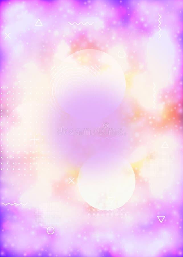 Tampa líquida das formas com líquido dinâmico Inclinação de néon do bauhaus com fundo luminoso roxo ilustração royalty free