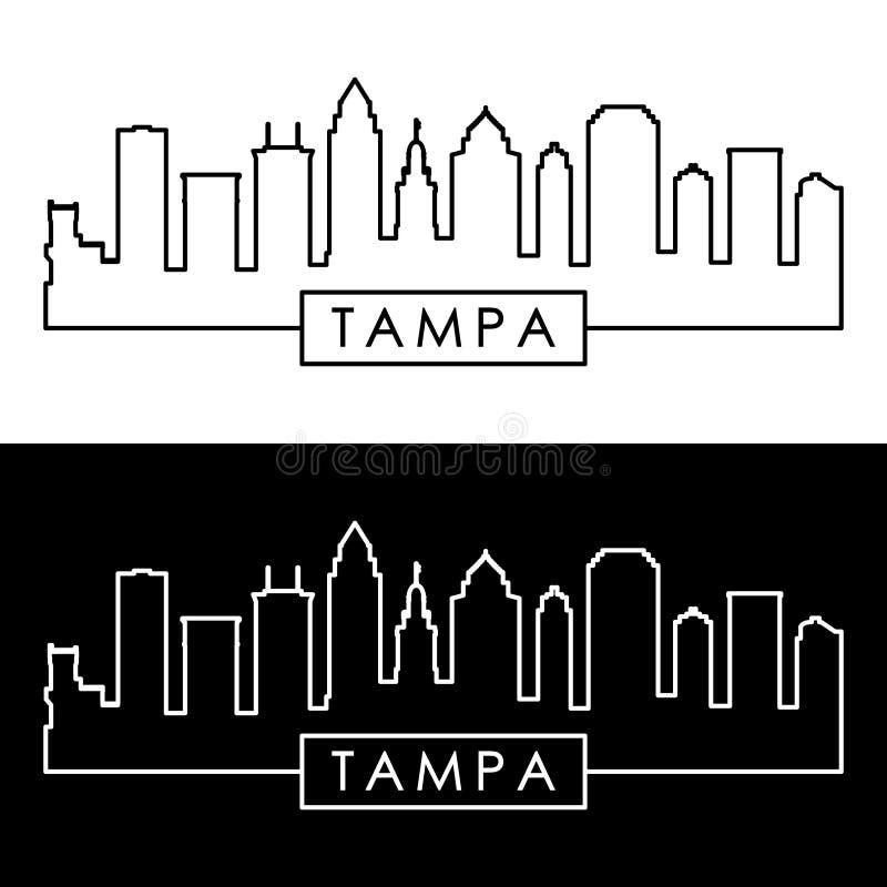 Tampa linia horyzontu liniowy styl ilustracja wektor