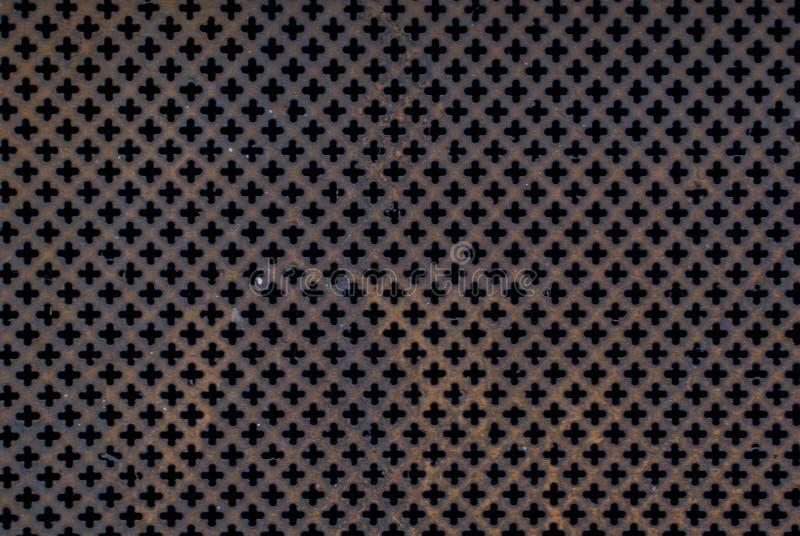 Tampa material de aço vermelha com oxidação imagens de stock royalty free