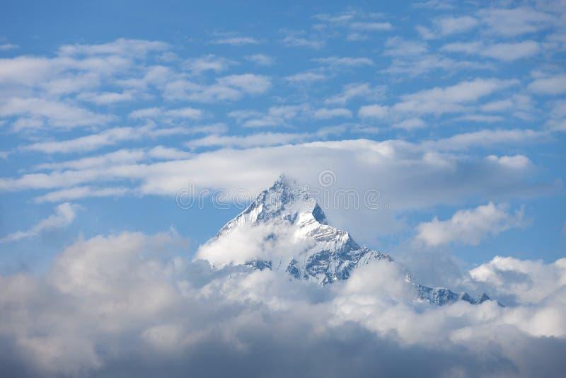 Tampa nebulosa do pico da neve da montanha foto de stock