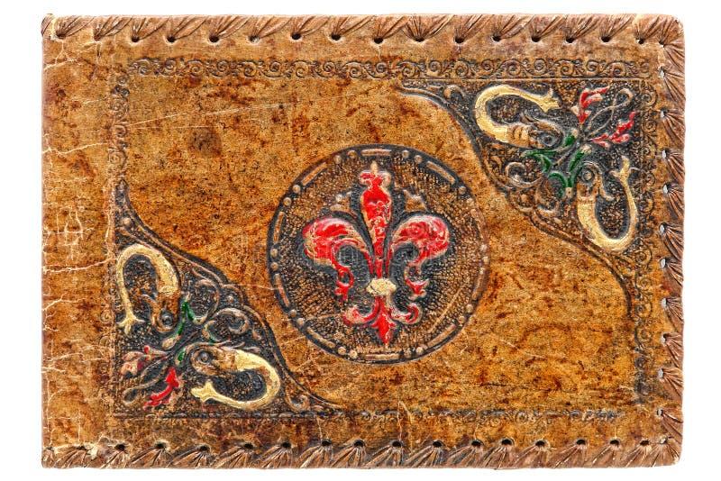 Tampa pintada do couro gravado jornal antigo velho fotos de stock royalty free