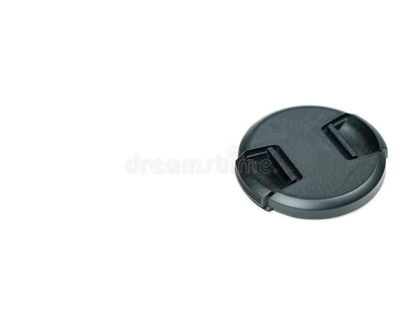A tampa preta para protege a lente da câmera com espaço da cópia fotos de stock