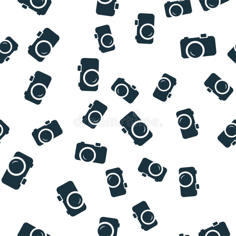 Tampa sem emenda do teste padrão da câmera Projeto criativo do ícone da câmera Papel de parede, design web, matéria têxtil, impre ilustração do vetor