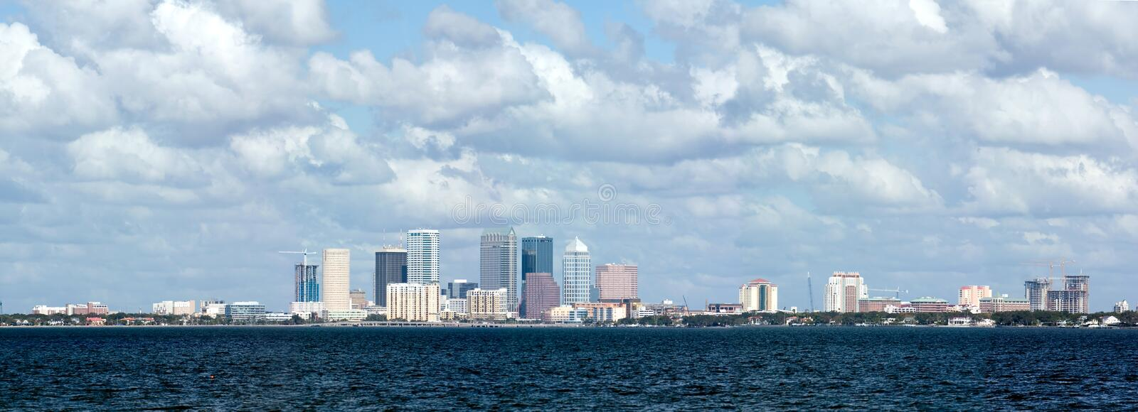 Tampa Skyline Bay View. Tampa Florida skyline viewed from bay royalty free stock image