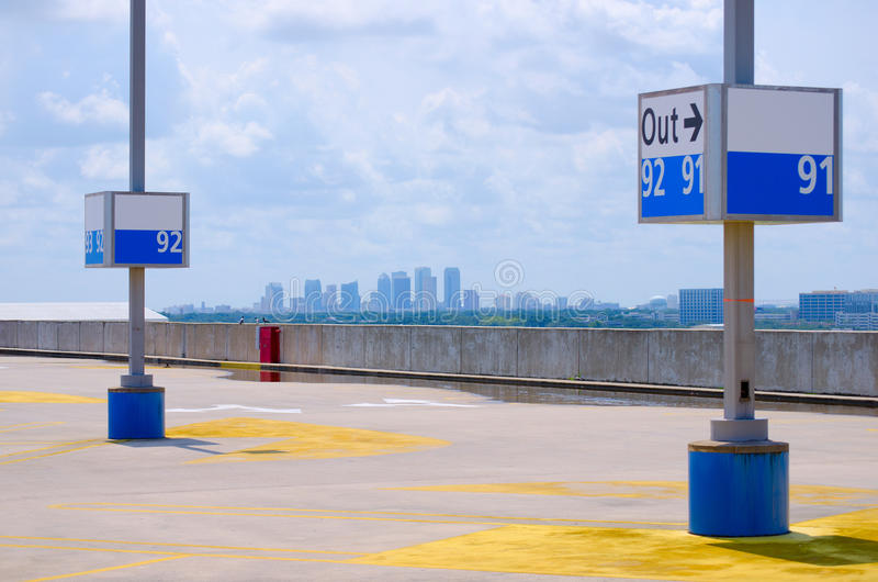 Tampa skyline viewed from Tampa Int'l Airport stock photography