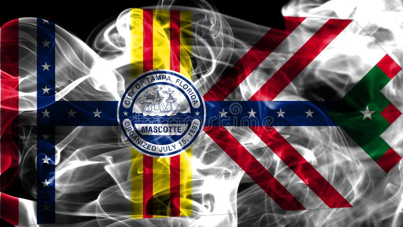 Tampa-Stadtrauchflagge, Staat Florida, die Vereinigten Staaten von Amerika stockbild