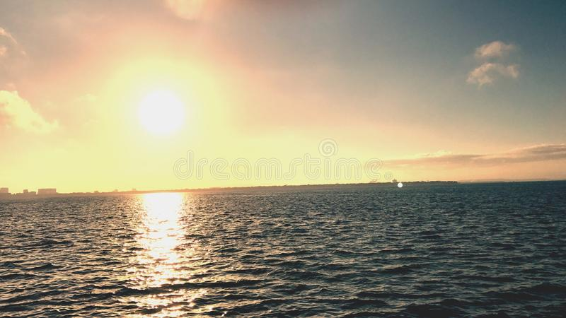 Tampa Sunrise. Ballast point park sunrise from pier with a perfect royalty free stock image