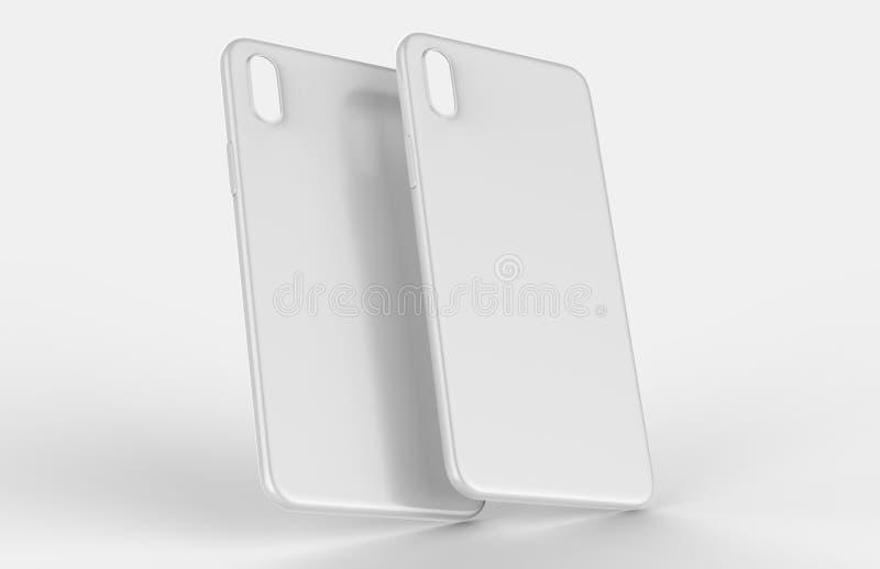 Tampa traseira móvel ou caixa do telefone esperto branco vazio para o projeto ascendente da zombaria do molde do projeto ilustração do vetor