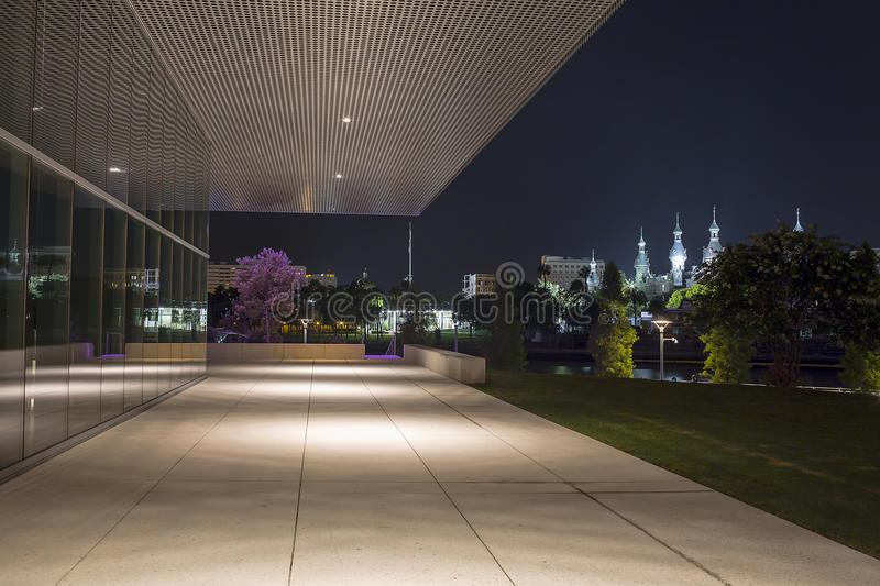 Tampa University and Tampa Museum of Art. The Tampa University at night, seen in the distance, from the steps / entrance of the Tampa Museum of Art, located at royalty free stock image