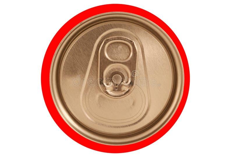 Tampa vermelha fechada isolada da lata de soda imagens de stock