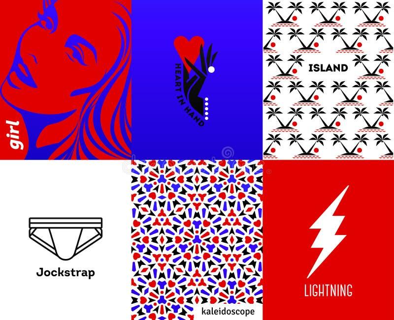 Tampas abstratas com elementos mínimos do projeto e tipográfico fresco em fundos brilhantes e vibrantes do inclinação Alfabeto do ilustração do vetor