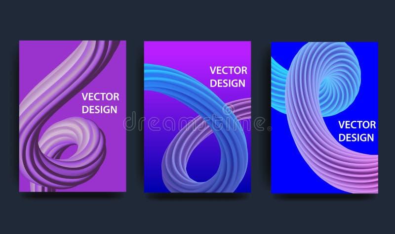 Tampas com projeto mínimo ilustração ondulada da forma 3d Fundo abstrato colorido Elemento creativo do projeto ilustração stock