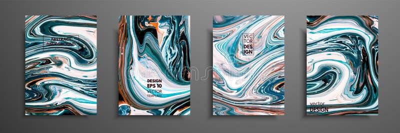 Tampas com texturas líquidas acrílicas Composição abstrata colorida arte finala moderna Ilustrações do vetor com azul misturado ilustração royalty free
