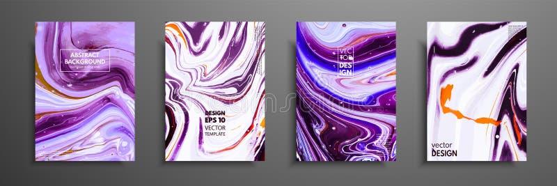 Tampas com texturas líquidas acrílicas Composição abstrata colorida arte finala moderna O líquido criativo colore fundos ilustração royalty free