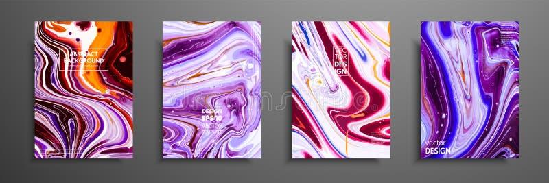 Tampas com texturas líquidas acrílicas Composição abstrata colorida arte finala moderna O líquido criativo colore fundos ilustração do vetor