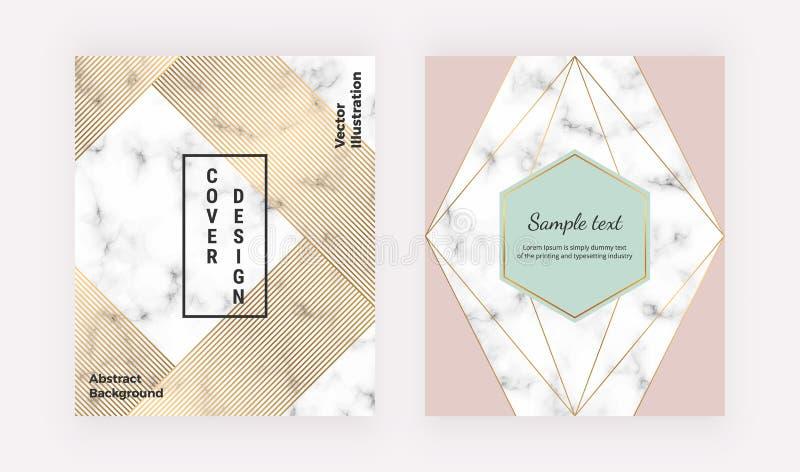 Tampas geométricas com linhas douradas na textura de mármore Projeto moderno com linhas poligonais Molde moderno para o folheto,  ilustração stock