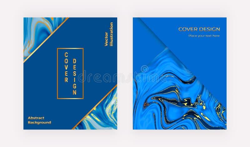 Tampas geométricas com textura marmoreando azul Mármore líquido da aquarela Molde para o cartão, inseto, cartaz, partido, meio so ilustração do vetor