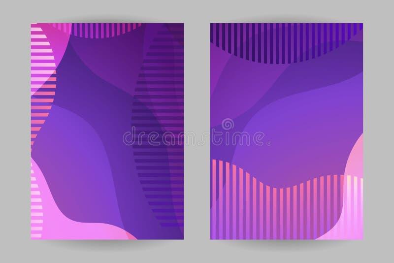 Tampas lisas do vetor do inclinação do sumário do projeto Tamanho geométrico dos cartões A4 das formas com efeitos fluidos Contex ilustração stock